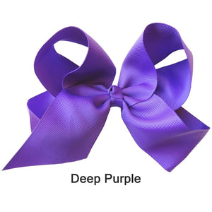 "6"" Deep Purple Plain Grosgrain Ribbon Bow"
