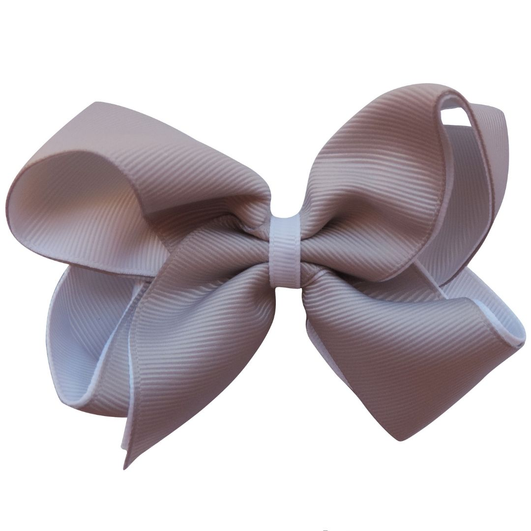 "4"" Grey & White Double Grosgrain Ribbon Bow"