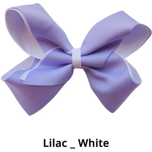 "4"" Purple & White Double Grosgrain Ribbon Bow"