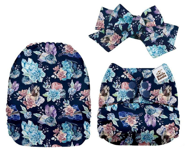 MamaKoala Pocket Nappy with Head Band & 1x Micro Fibre Liner  -  Blue Flowers Safari Totz