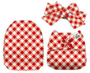 MamaKoala Pocket Nappy with Head Band & 1x Micro Fibre Liner  -  Red & White Checks Safari Totz