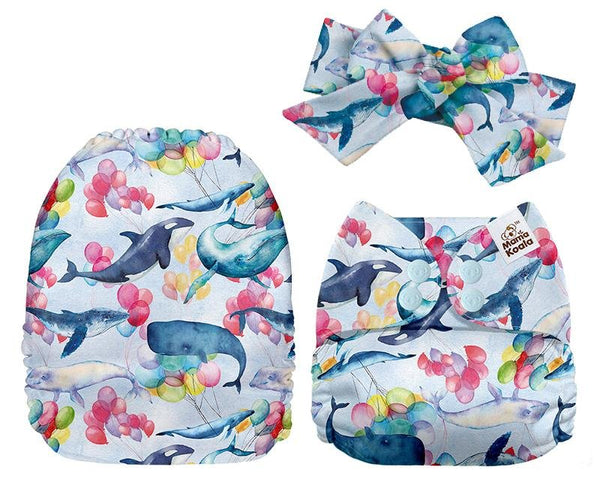 MamaKoala Pocket Nappy with Head Band & 1x Micro Fibre Liner  -  Whales Safari Totz