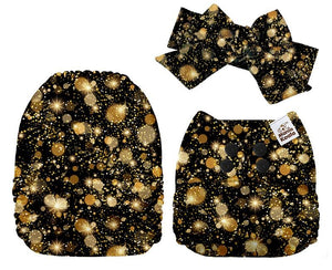 MamaKoala Pocket Nappy with Head Band & 1x Micro Fibre Liner -  Gold Stars Safari Totz