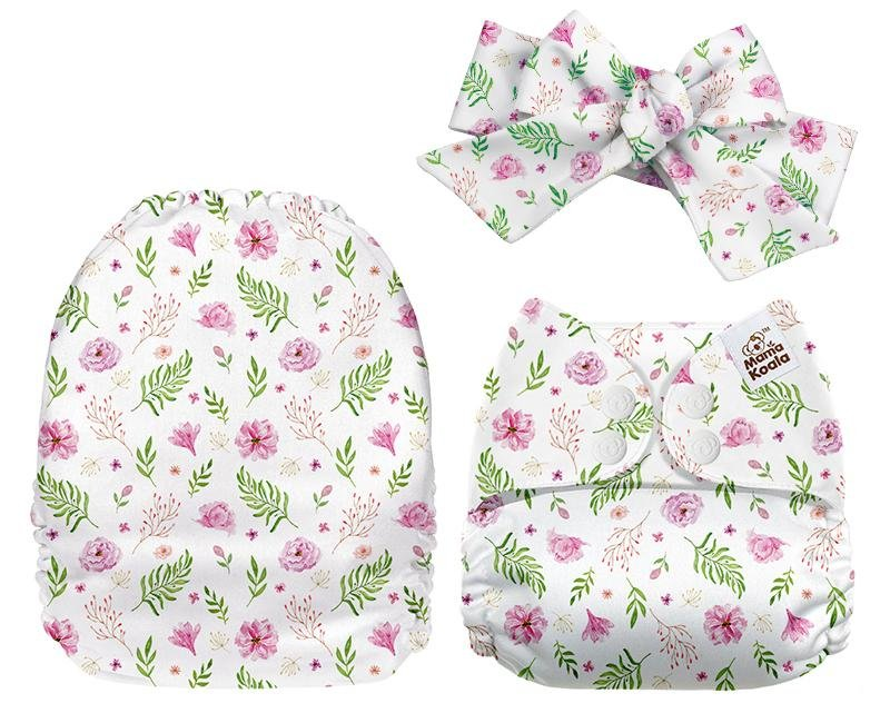 MamaKoala Pocket Nappy with Head Band & 1x Micro Fibre Liner  - Pink Blossom Safari Totz
