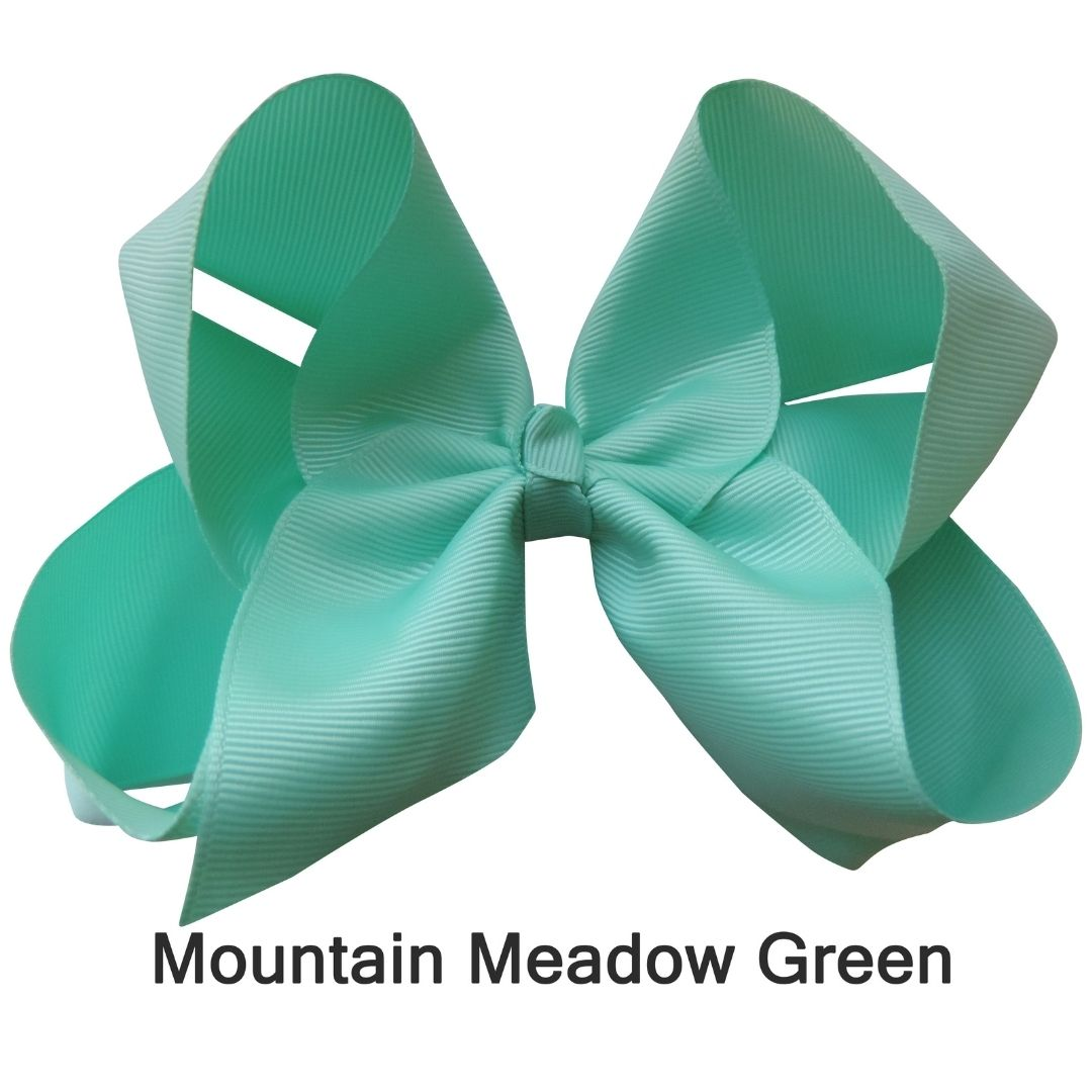 "6"" Mountain Meadow Green Plain Grosgrain Ribbon Bow"