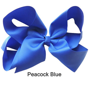 "6"" Peacock Blue Plain Grosgrain Ribbon Bow"