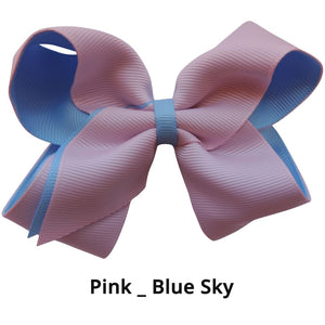 "4"" Pink & Sky Blue  Double Grosgrain Ribbon Bow"
