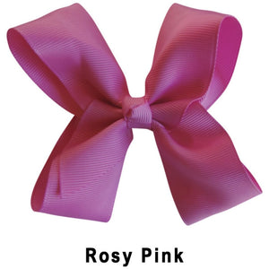 "4"" Rosy Pink Plain Grosgrain Ribbon Bow"