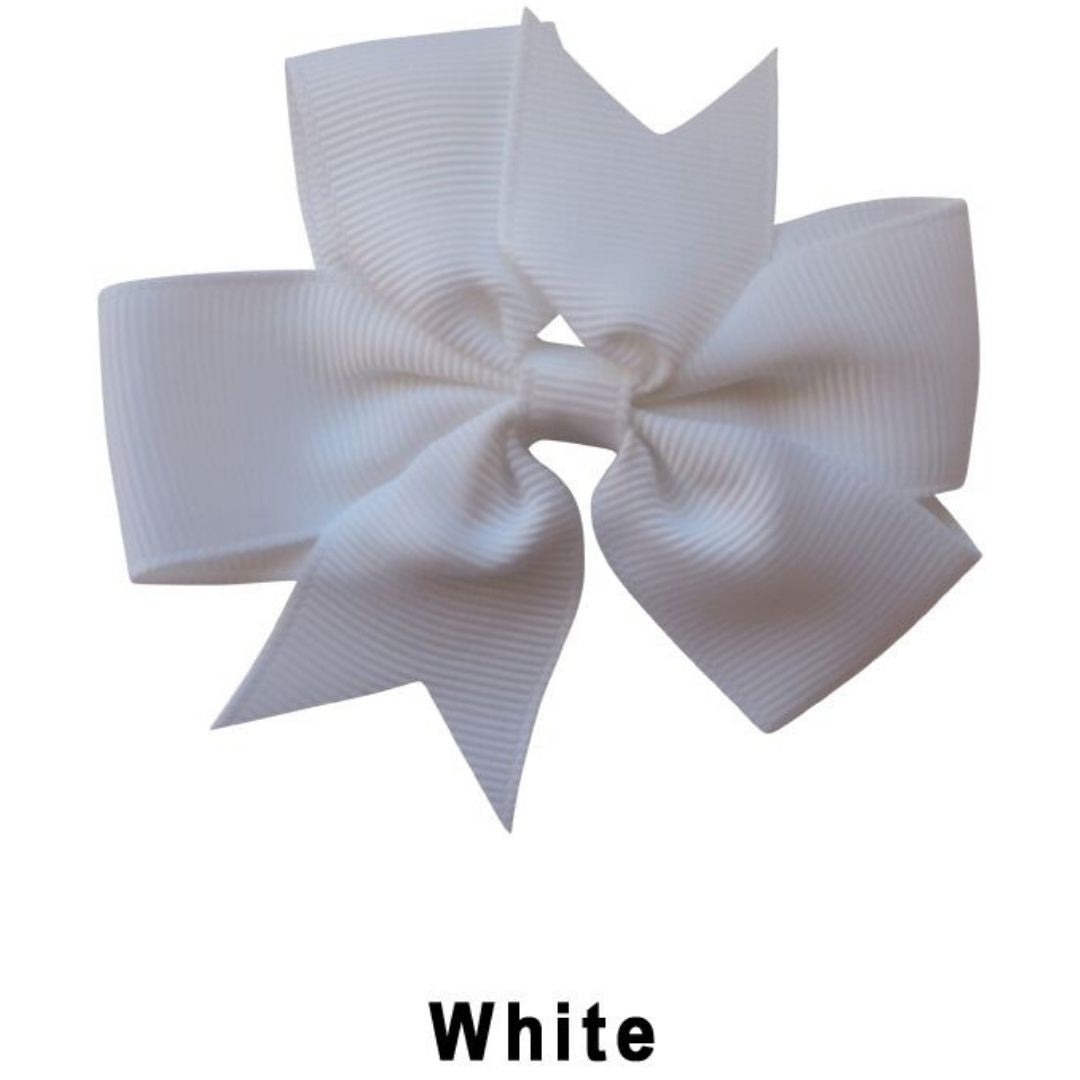 "3.1"" White Plain Grosgrain Ribbon Bow"