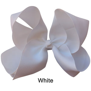 "6"" Deep White Plain Grosgrain Ribbon Bow"