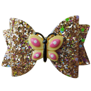 "3"" Gold Butterfly Glitter Bow"