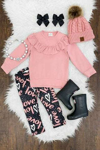 Cotton Long Sleeve Top & Pants Outfit