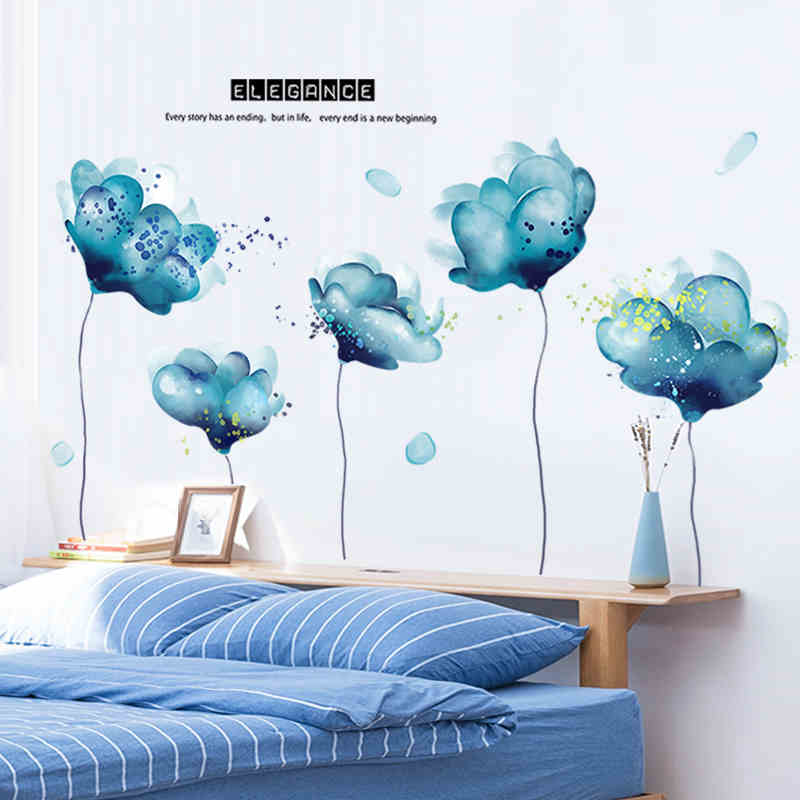 Huge Wall Stickers Blue Lotus Living Bedroom Home Decoration Mural Poster Decals