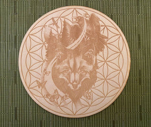 Fox and Raven Flower of Life Crystal Grid