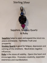 Load image into Gallery viewer, Sapphire, Smokey Quartz & Ruby Pendant