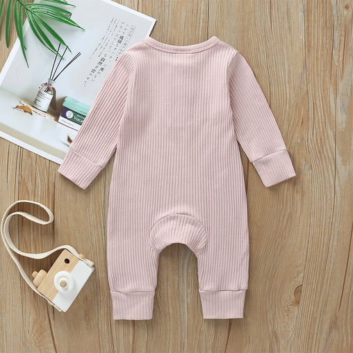 Newborn Cotton Ribbed Knitted Jumpsuit - Oh Happy Mommy