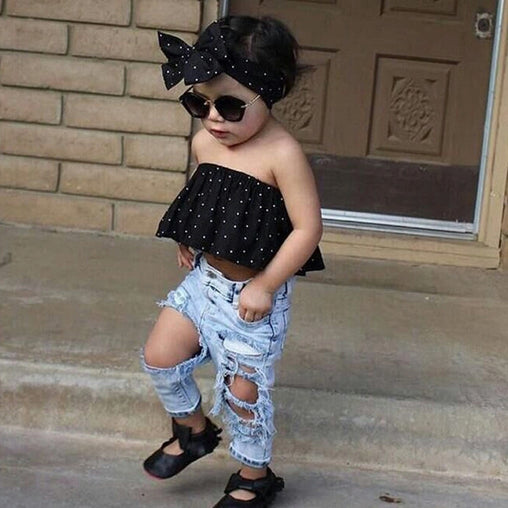 Sleeveless Tops Vest Hole Denim Pants - Oh Happy Mommy