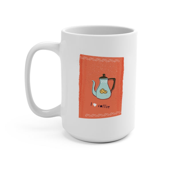I Heart Coffee {orange} Mug 15oz