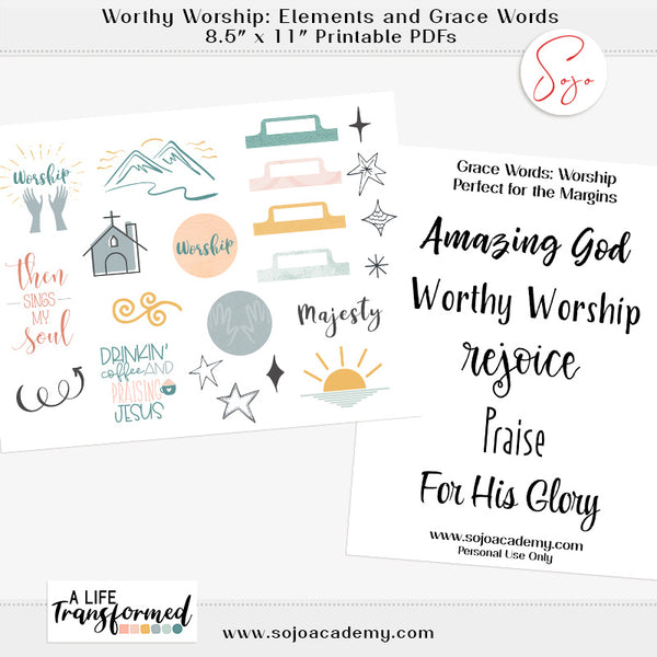 Worthy Worship Elements and Grace Notes: 2 pages