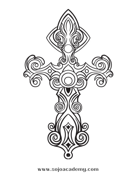 Glorious Gospel Cross Coloring Page