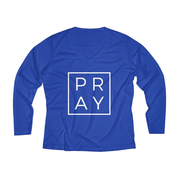 Pray Women's Long Sleeve Performance V-neck Tee