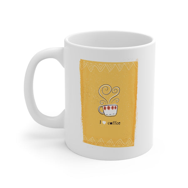 I Heart Coffee {yellow} Mug 11oz