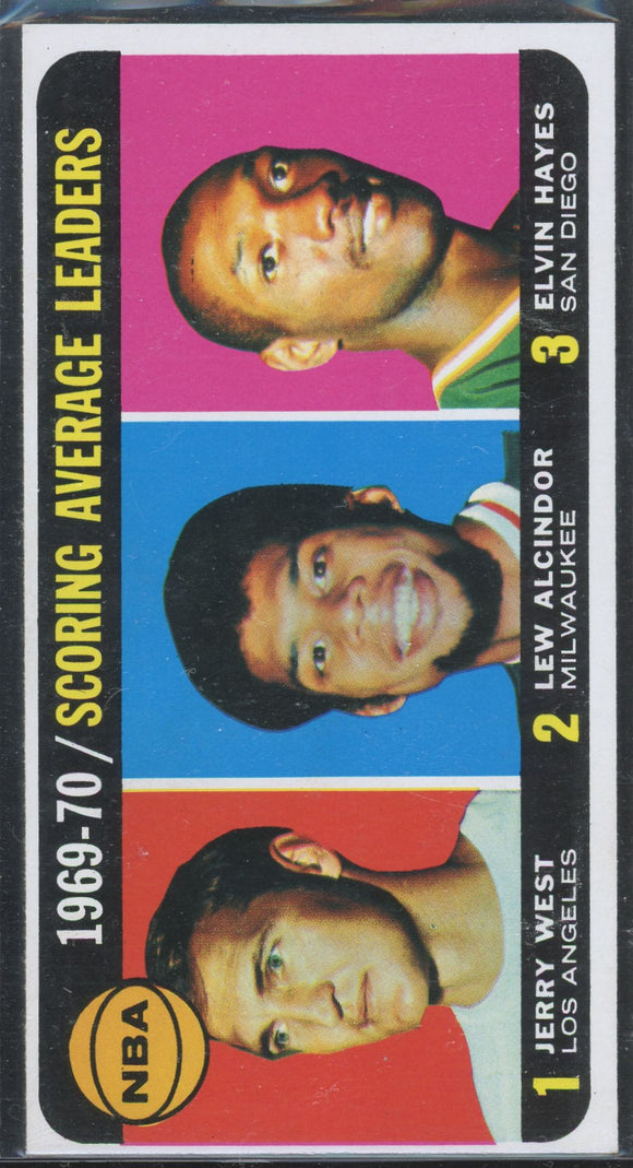1970-71 TOPPS BASKETBALL #1 SCORING LEADERS ALCINDOR/WEST/HAYES NMT