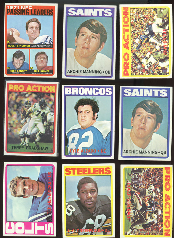 1972 Topps Football Starter Set/Lot (200+ Cards) - Stars, Minor Stars, Manning RC