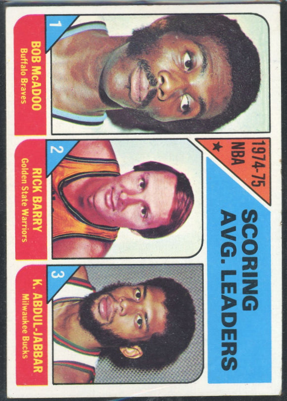 1975-76 Topps Scoring Leaders #1 - Jabbar/Barry/Mcadoo EX/MT