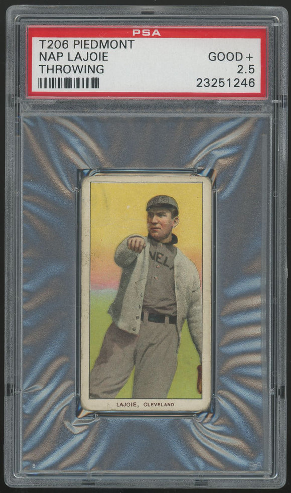 1909-11 T206 Nap Lajoie (Throwing) - Piedmont PSA 2.5 (Good+)