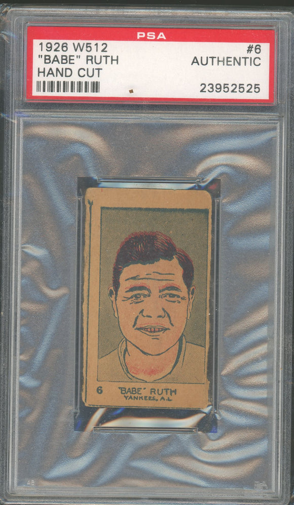 1926 W512 Babe Ruth Strip Card - PSA Authentic