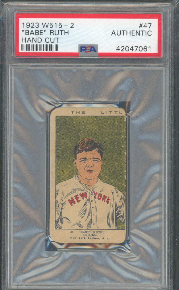 1923 W515-2 Babe Ruth Strip Card - PSA Authentic