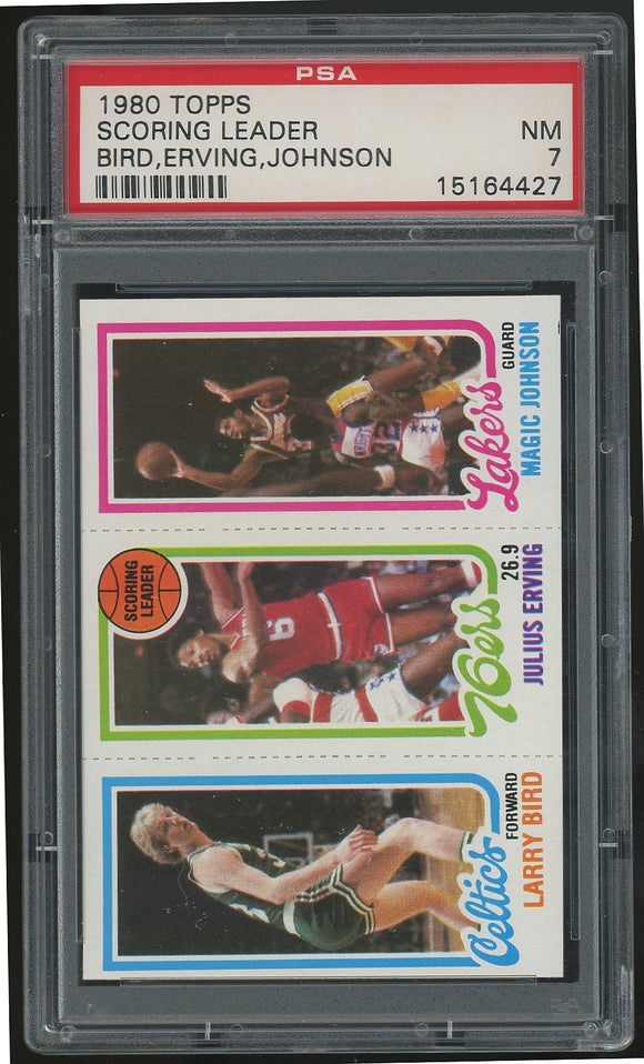 1980-81 Topps Larry Bird/Magic Johnson Rookie Card - PSA 7 (Near Mint)