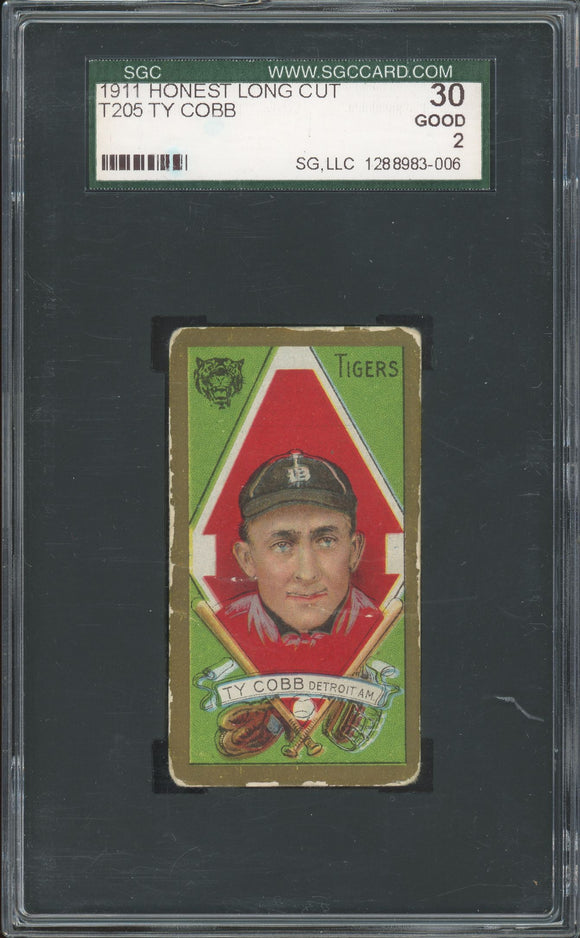 1911 T205 Gold Border Ty Cobb (Honest Long Cut) - SGC 2 (Good)