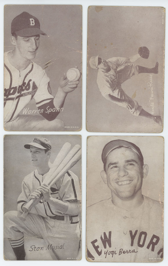 1947-66 Exhibits - HOF Star 16 Card Lot - Musial, Feller, Berra and More