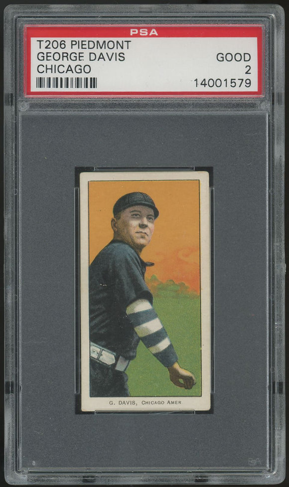 1909-11 T206 George Davis HOF (Chicago) - Piedmont- PSA 2 (Good)
