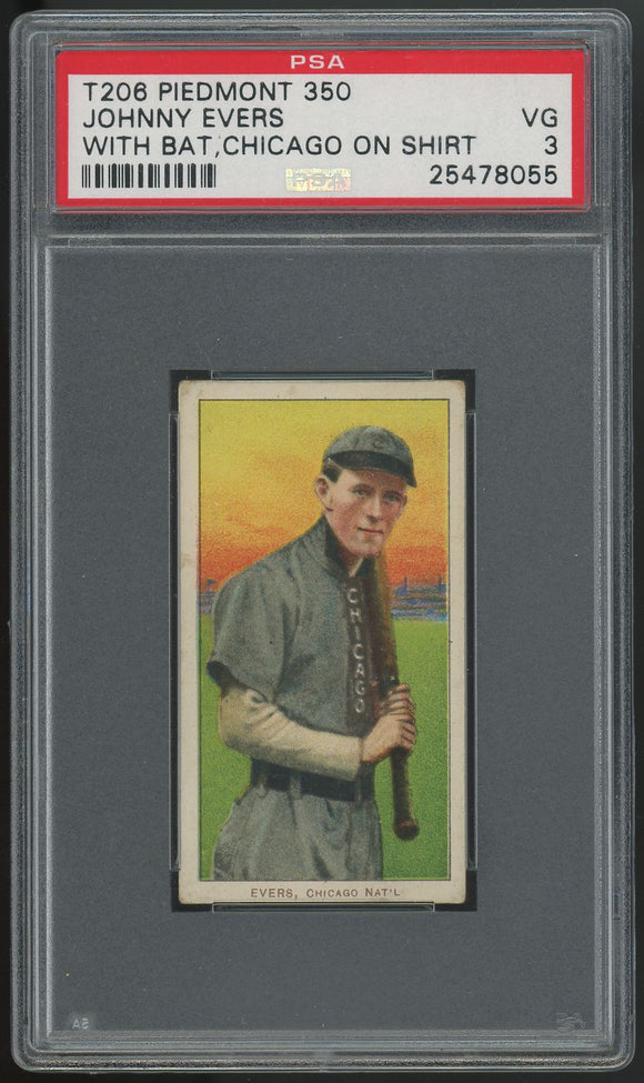 1909-11 T206 Johnny Evers HOF (With Bat, Chicago) - Piedmont - PSA 3 (VG)