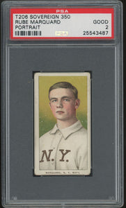 1909-11 T206 Rube Marquard HOF (Portrait) - Sovereign 350 - PSA 2 (Good)