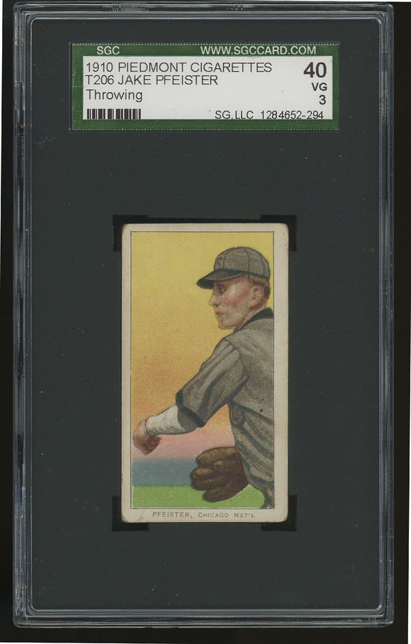 1909-11 T206 Jake Pfeister (Throwing) - Piedmont - SGC 3 (VG)