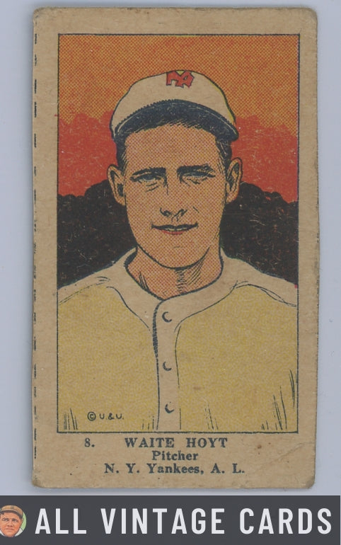 1923 W515-1 Waite Hoyt #8 HOF - Good Condition