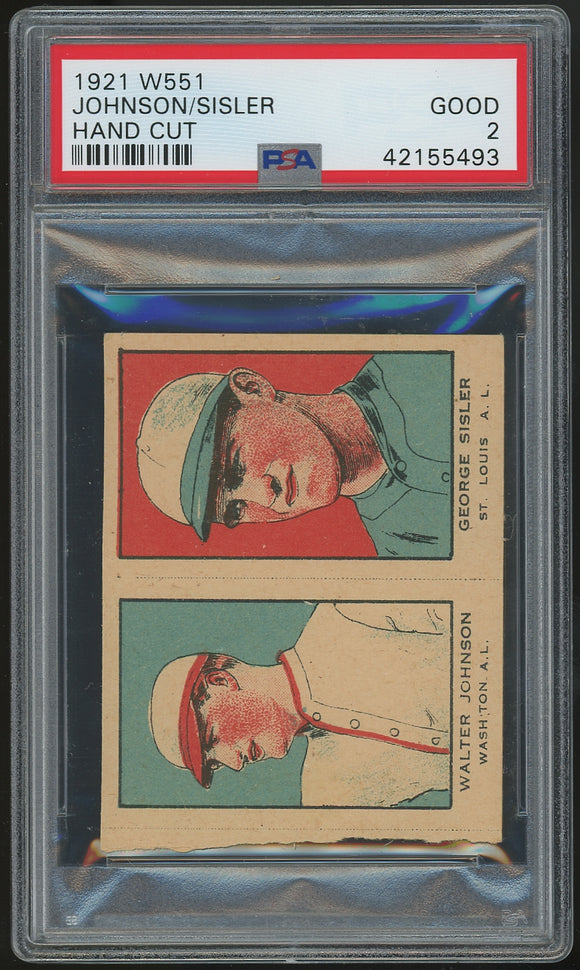 1921 W551 Strip Card - Walter Johnson/George Sisler Uncut - PSA 2 (Good)