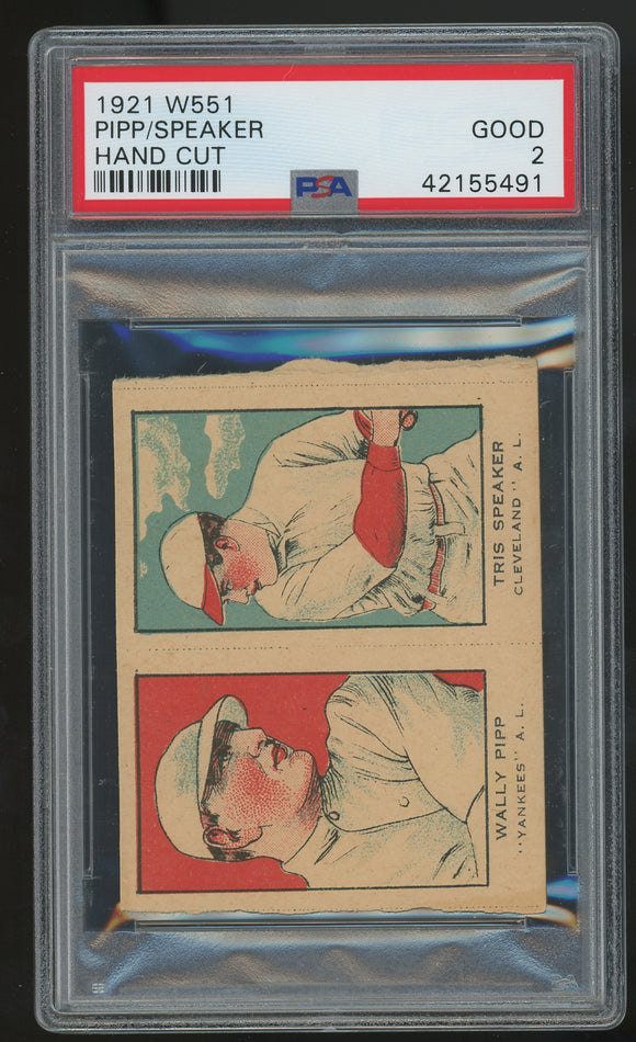 1921 W551 Strip Card Uncut - Tris Speaker/Wally Pip - PSA 2 (Good)