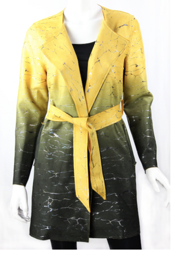 Luxury awaits the wearer of this piece.  This unique jacket has plenty of shimmer as it transitions from yellow/gold to gray/green.  Belt it with matching gold sash, and enjoy the useful side pockets.  Cm132