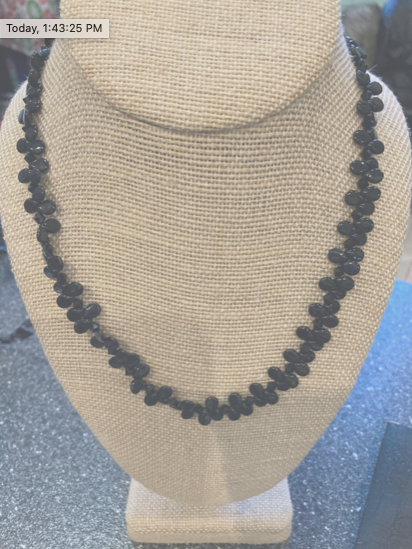 Handmade Black Glass Bead Necklace