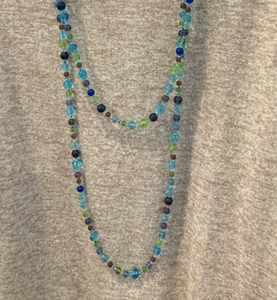 Handmade Glass Bead Necklace in Blues and Greens