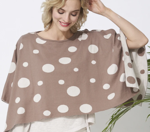 Parkhurst Reversible Polka Dot Poncho in Tea Tree & Alabaster