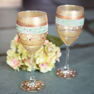 Gold Garland and Studded Wine Glasses