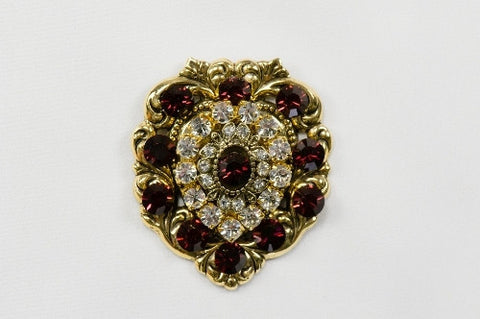 Magnetic Brooch, Heart, Gold Metal with Garnet color and clear crystals - call Store for in stock