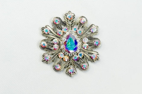 Magnetic Brooch - Snowflake, silver tone metal with AB color crystals