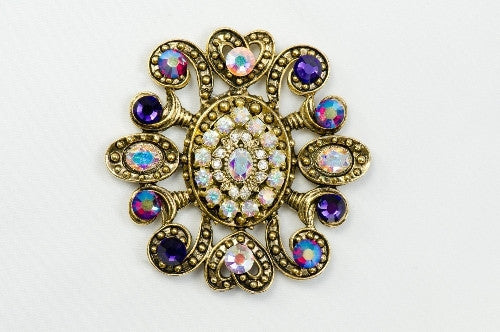 "Magnetic Brooch -""Rhapsody"" large antique gold metal with crystals"